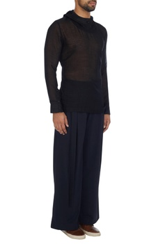 Black high collar chanderi t-shirt