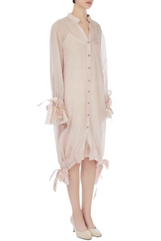 Beige organza & lace balloon dress