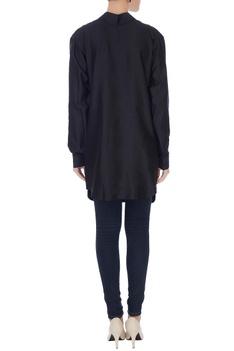 Black chanderi & lace yoke long shirt tunic