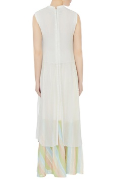 Ivory & blue georgette & cotton embellished kurta with palazzos