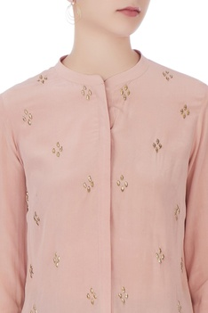 Old rose crepe embroidered shirt