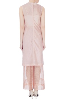 Peach zari silk sleeveless kurta