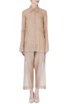 Beige tissue silk collar shirt
