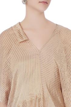 Beige stripe zari chanderi blouse