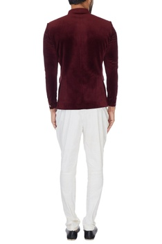 Maroon pure velvet buttoned bandhgala
