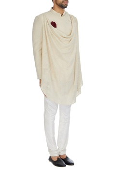Ivory draped matka silk bandhgala with mother of pearl buttons