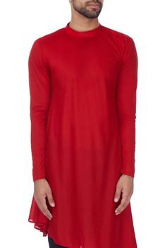 Red asymmetric poly-knit kurta