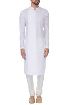 White cross-over button down kurta
