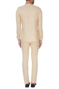 Beige cross-over shirt with pants
