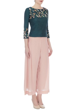 Blush pink & green thai silk & crepe crop top with pleated pants