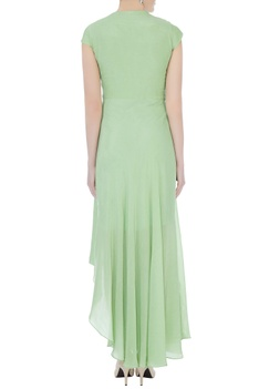 Mint green crepe embroidered gown