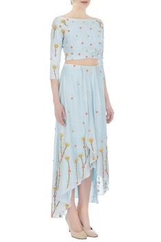 Powder blue thai silk embroidered blouse with skirt