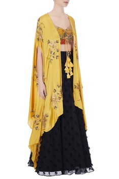 Black & mustard yellow blouse with phumban skirt & embroidered cape