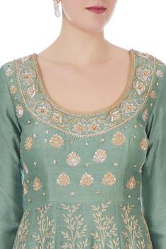 Moss green chanderi handloom ari embroidery anarkali with dupatta
