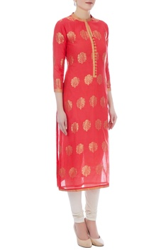 Peach chanderi handloom embroidered kurta