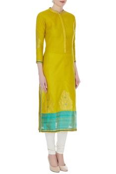 Lime green & aqua blue chanderi handloom woven meena work kurta