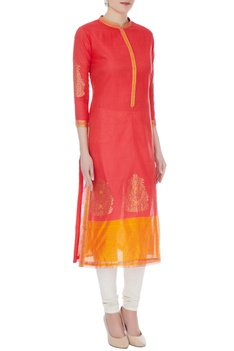 Peach & orange chanderi handloom woven meena work kurta