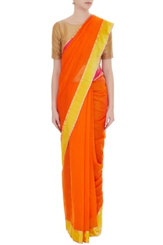 Orange handwoven pure banarasi silk saree