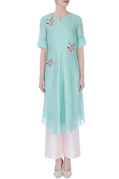 Icy green floral buta embroidered kurta