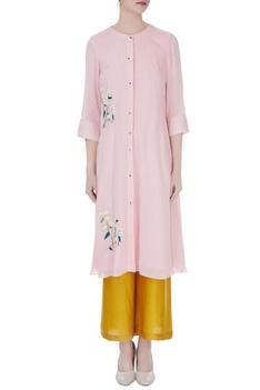 Pastel pink machine & hand embroidered kurta