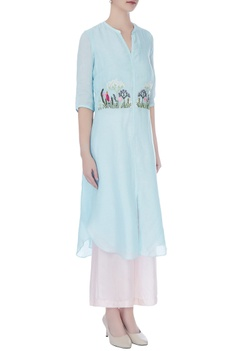 Icy blue linen silk embroidered kurta
