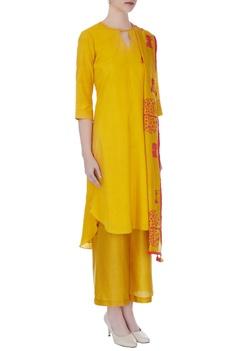 Mustard yellow hand embroidered kurta set