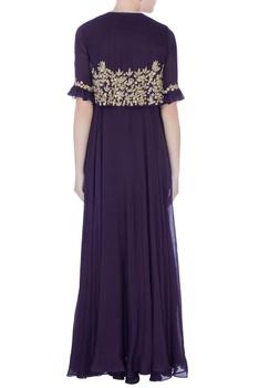 Purple zardozi & sequin embroidered cape gown
