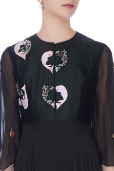 Black georgette fish motif gown