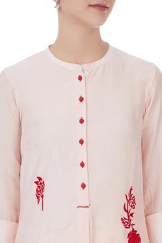 Peach georgette aari buta embroidered kurta set