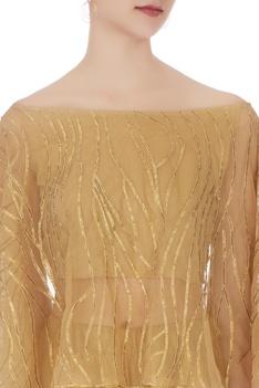 Gold net off-shoulder gota work cape