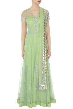 Light green net layer anarkali gown with silver gota dupatta