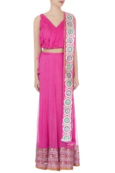 Pink gota embroidered & sequin lehenga set