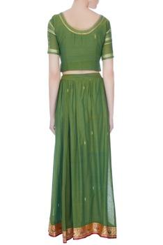 Green brocade cotton lehenga set