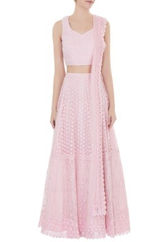 Powder pink  net zircon work lehenga with blouse & dupatta