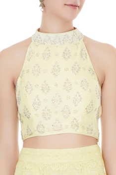 Lemon  net & georgette zircon work lehenga with blouse & dupatta