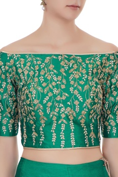 Emerald green raw silk zari & zircon lehenga with blouse & dupatta