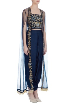 Navy blue net thread embroidery dhoti pants with bustier & cape
