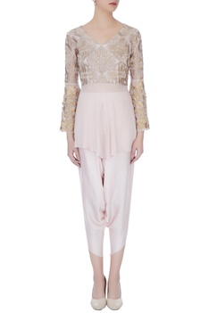 Pale muave thread embroidery dhoti pant with blouse