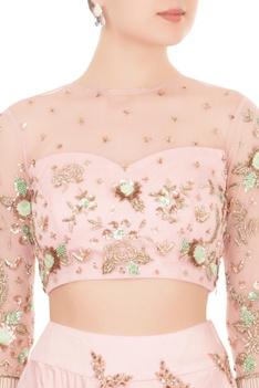 Baby pink sequin cutdana & zardozi work lehenga set