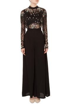 Black cutdana & sequin embroidered crepe silk jumpsuit