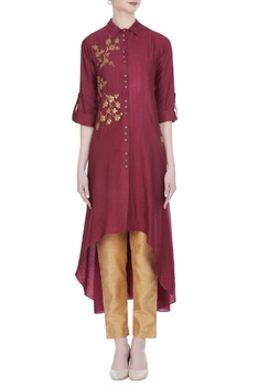 Sequins embroidered collar style tunic