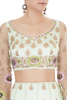 Mint green satin & net aari embroidered lehenga with blouse & dupatta