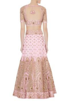 Pink satin & net aari embroidered lehenga with blouse & dupatta