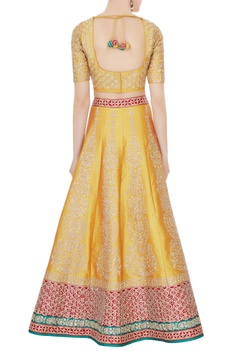 Mustard yellow & red raw silk zari embroidered lehenga with blouse & dupatta