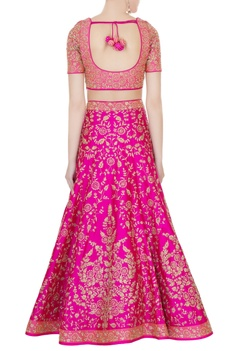 Hot pink raw silk zari embroidered lehenga with blouse & dupatta