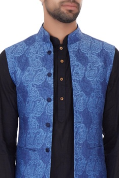 Blue linen self print bundi