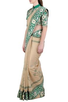 Beige & green handloom, georgette & silk gota embroidered sari with blouse