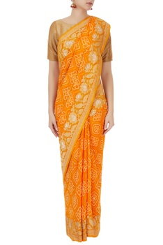Orange bandhani mukaish work saree with unstitched blouse