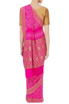 Bright pink bandhani dyed banarasi thread saree