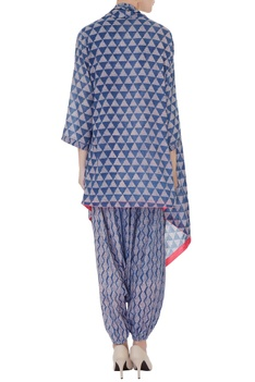 Indigo blue & grey ajrak printed pure cotton cape set